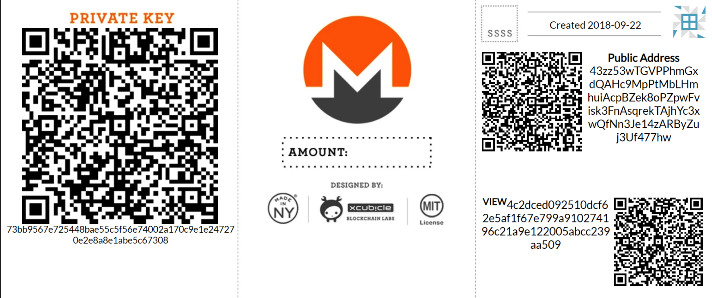 Paper waller for XMR crypto