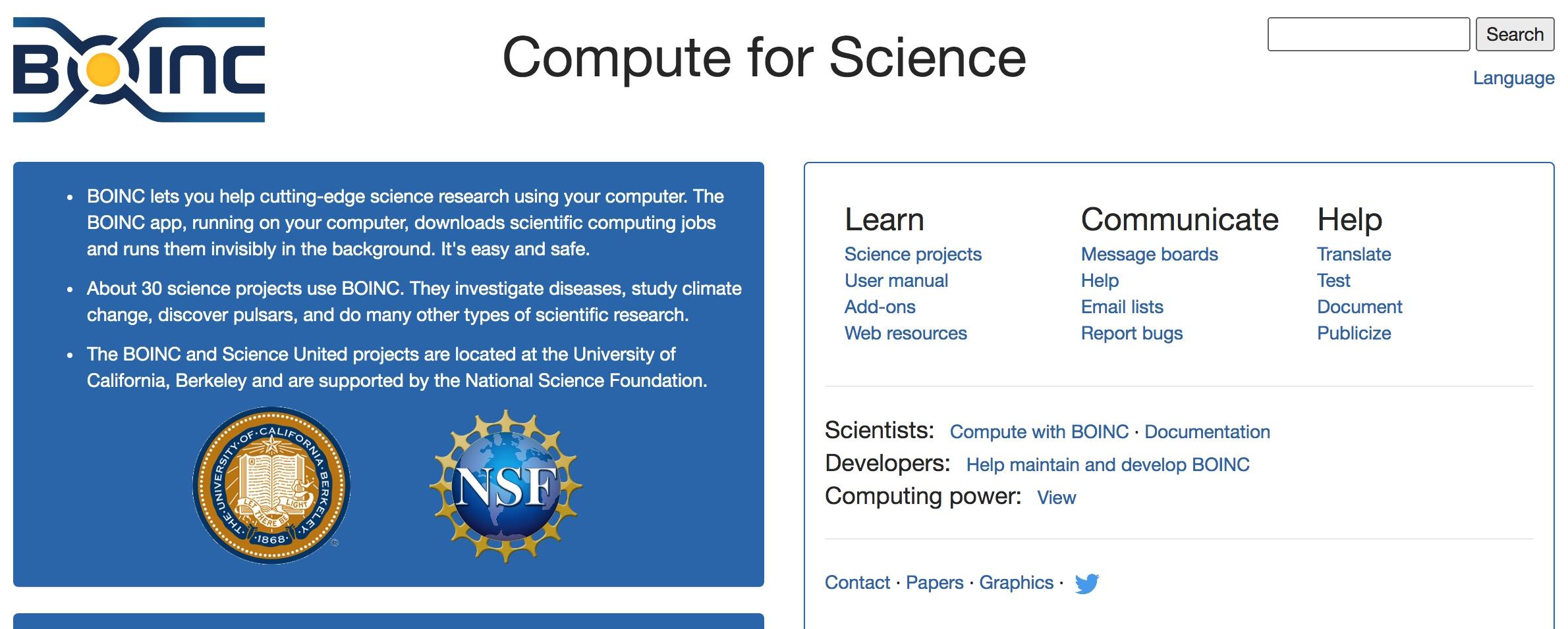 An open-source project BOINC