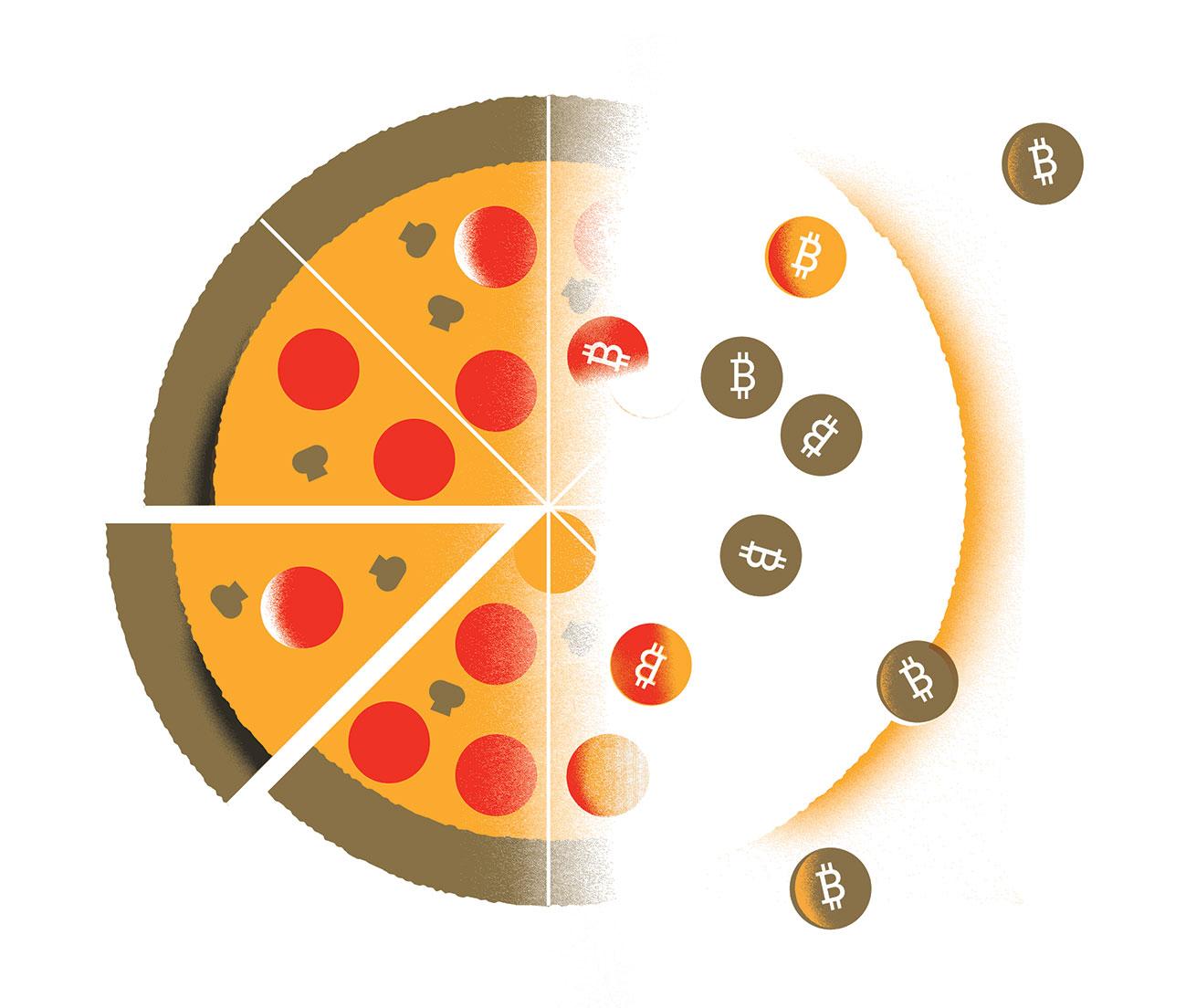 Bitcoins spread over a pizza