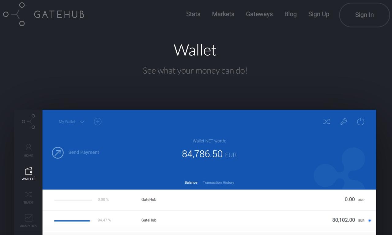 GateHub wallet for XRP