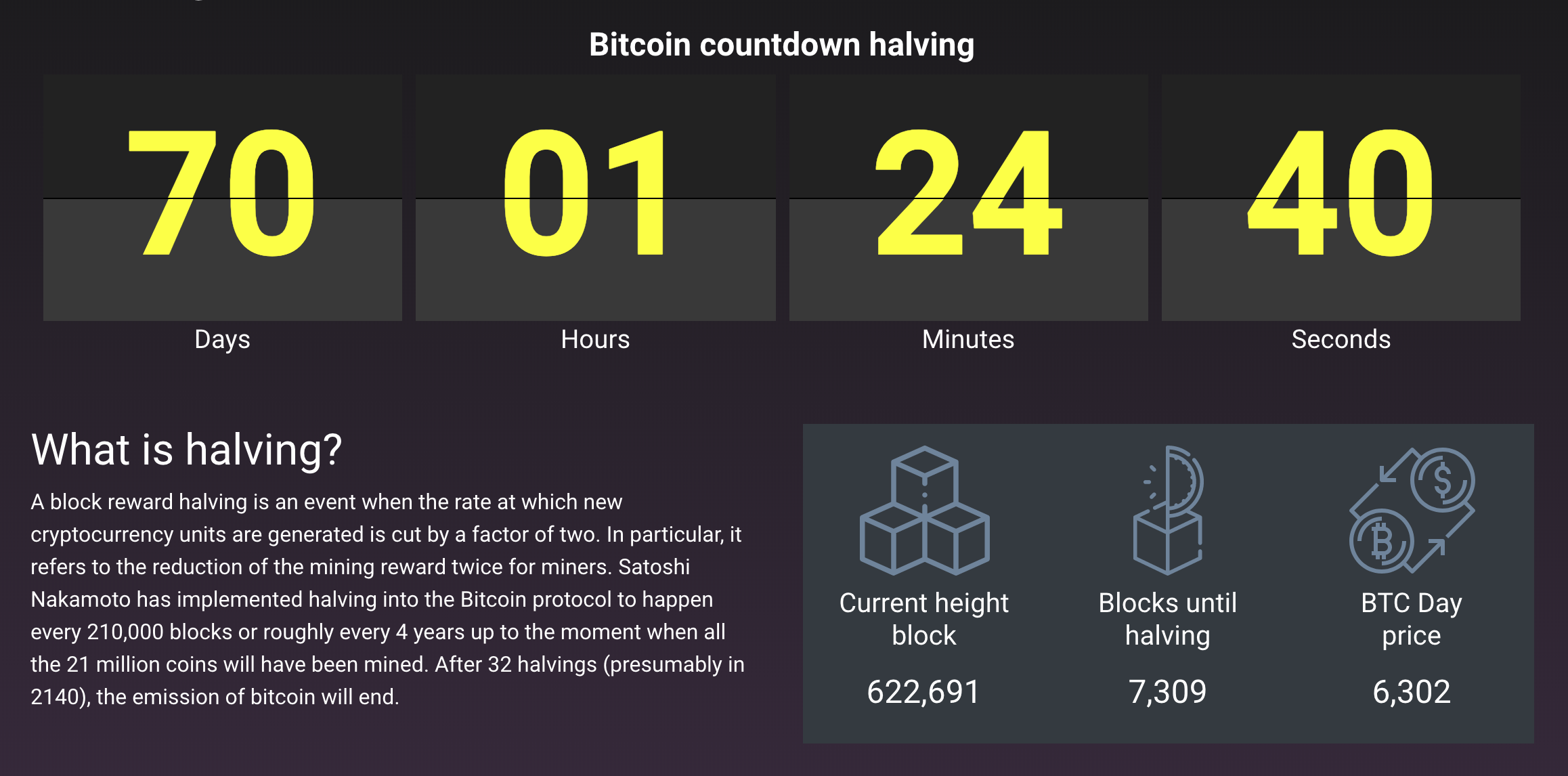 Time left to BTC halving