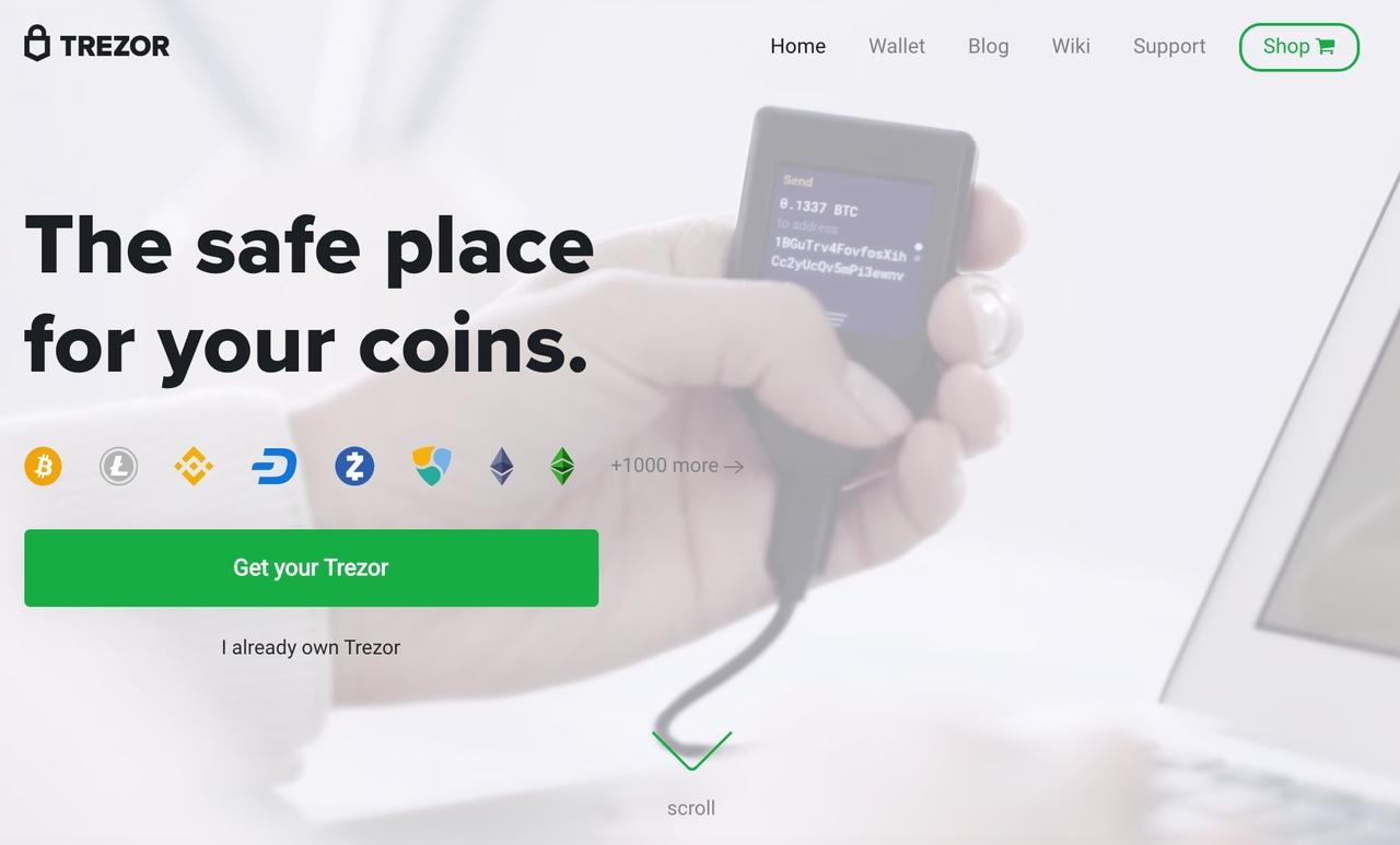 Trezor cryptocurrency wallet