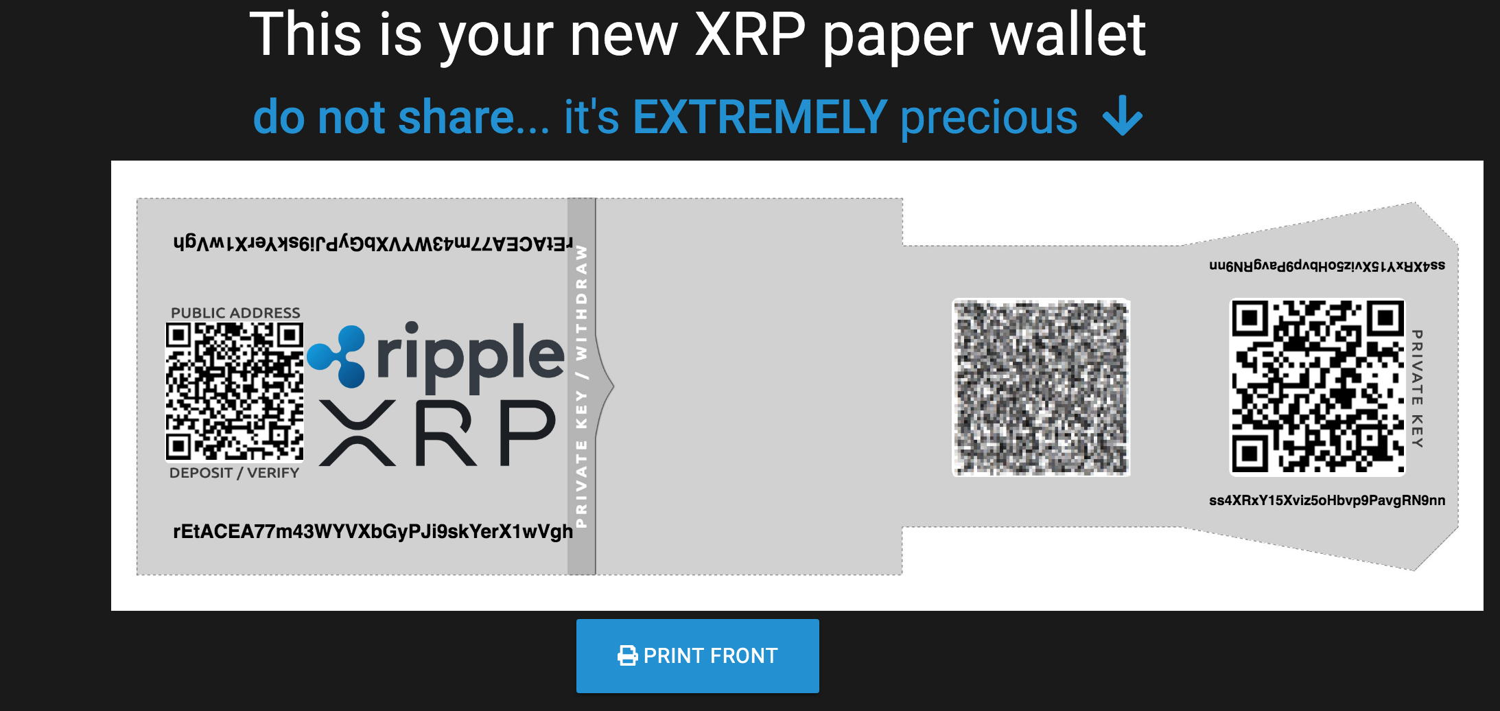 Ripple Paper Wallet to store XRP